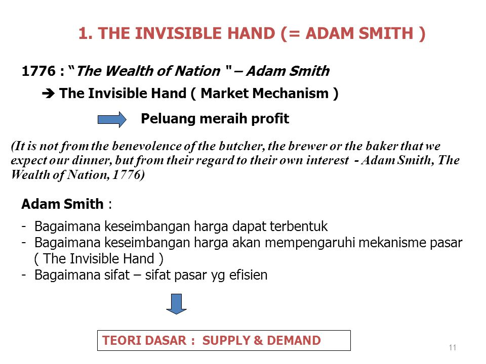 1. THE INVISIBLE HAND (= ADAM SMITH )