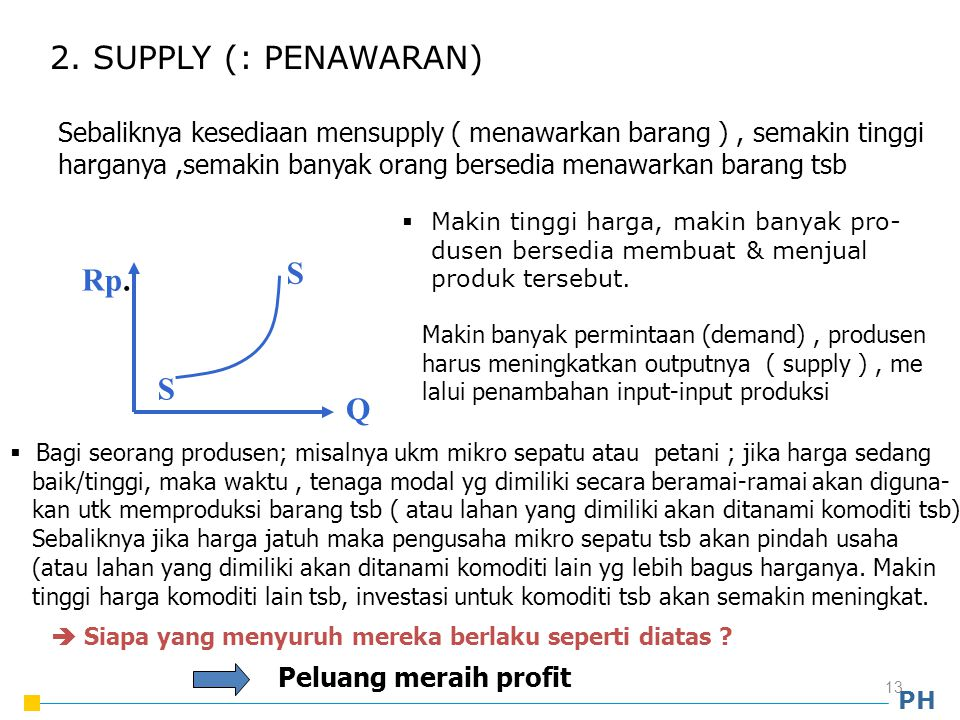 2. SUPPLY (: PENAWARAN) S Rp. Q