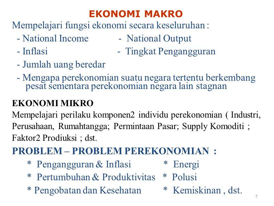 Mempelajari fungsi ekonomi secara keseluruhan :