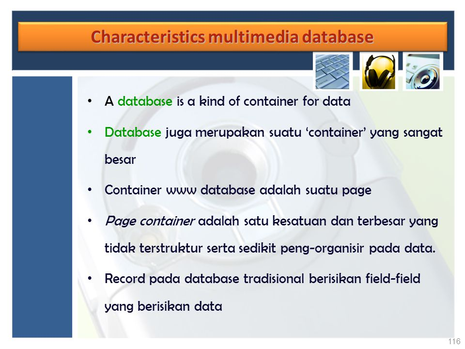 Characteristics multimedia database