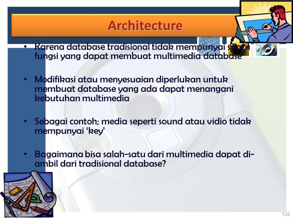 Architecture Karena database tradisional tidak mempunyai suatu fungsi yang dapat membuat multimedia database.