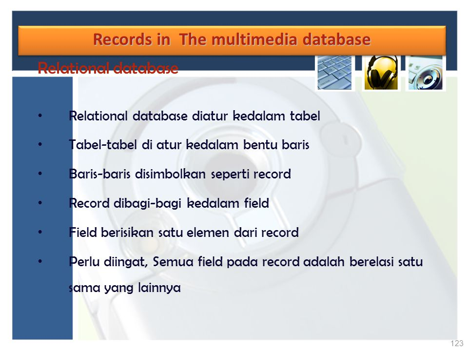 Records in The multimedia database
