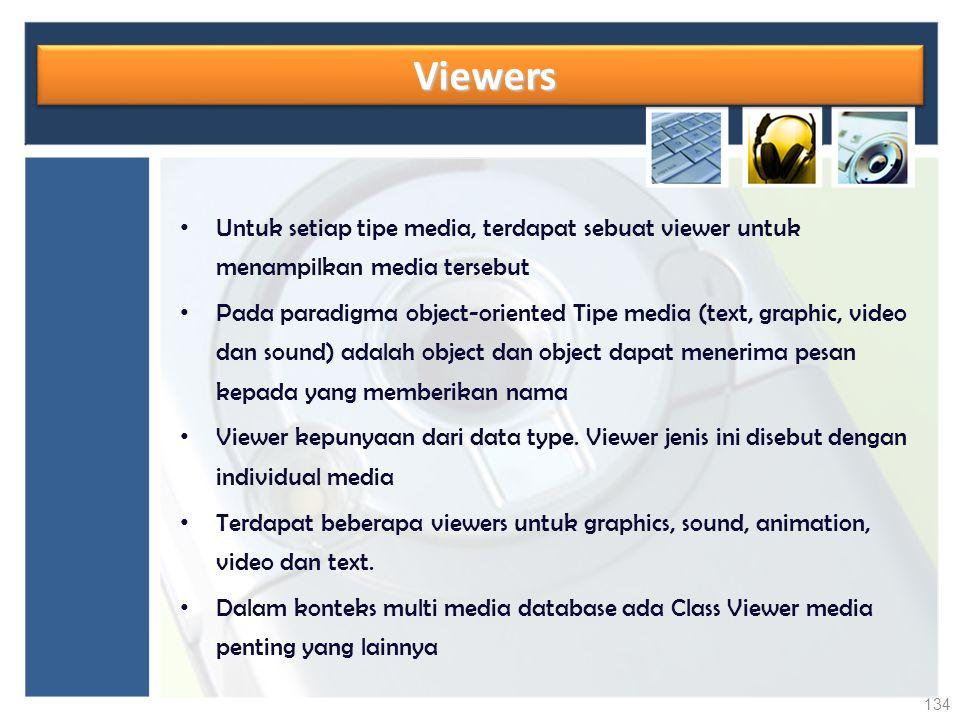 Viewers Untuk setiap tipe media, terdapat sebuat viewer untuk menampilkan media tersebut.