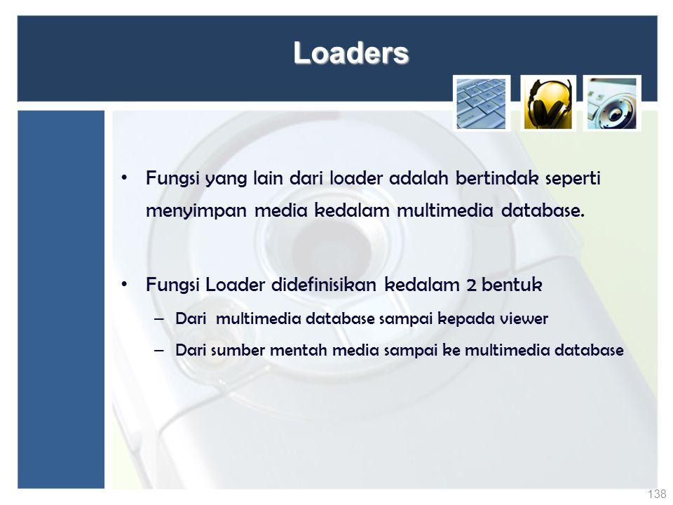 Loaders Fungsi yang lain dari loader adalah bertindak seperti menyimpan media kedalam multimedia database.