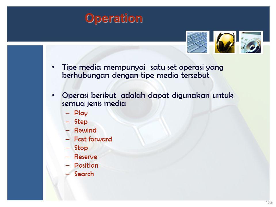 Operation Tipe media mempunyai satu set operasi yang berhubungan dengan tipe media tersebut.