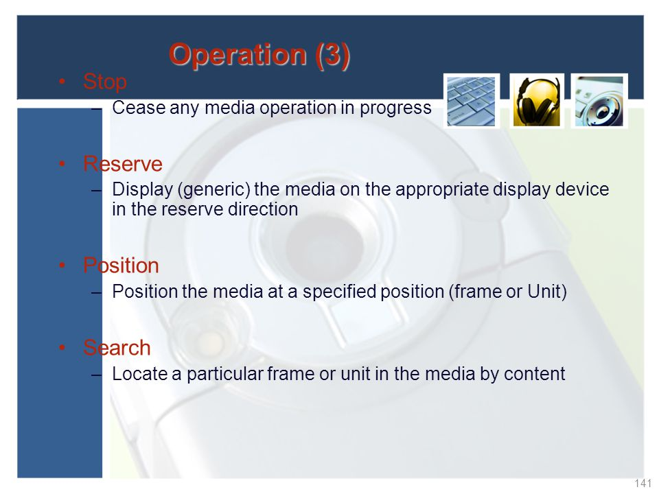Operation (3) Stop Reserve Position Search