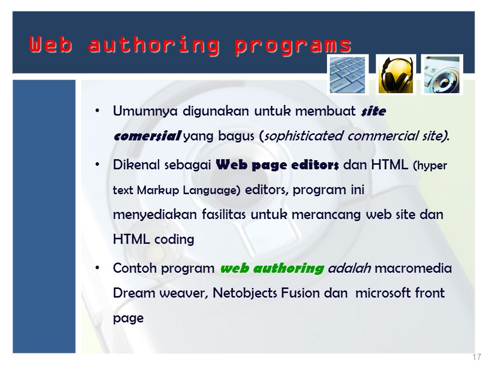 Web authoring programs