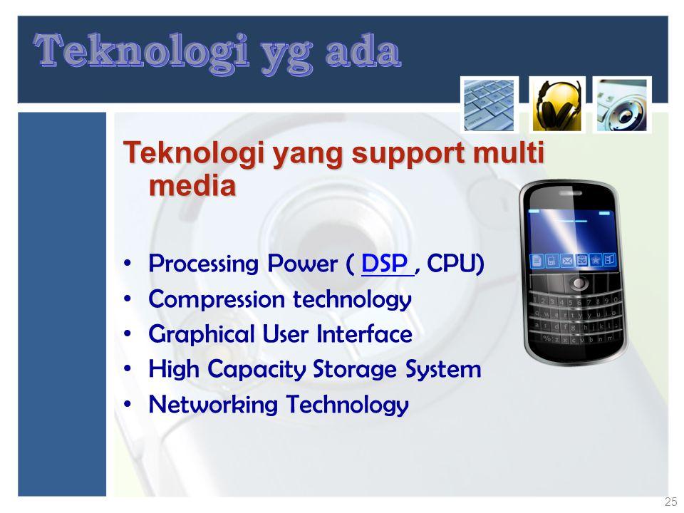 Teknologi yg ada Teknologi yang support multi media