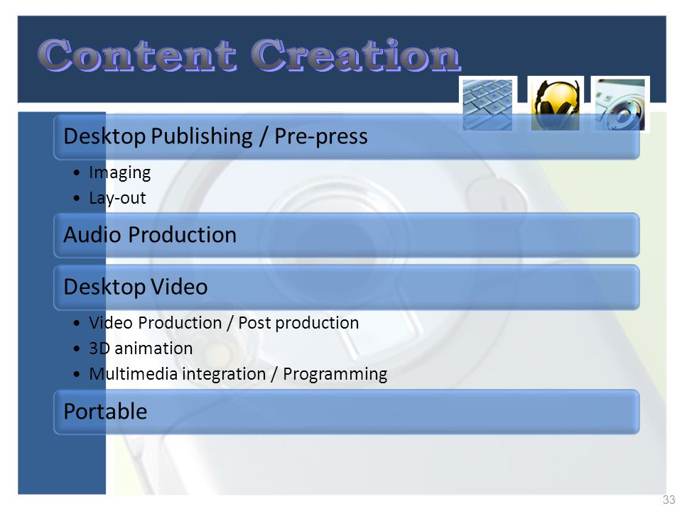 Content Creation Desktop Publishing / Pre-press Imaging Lay-out
