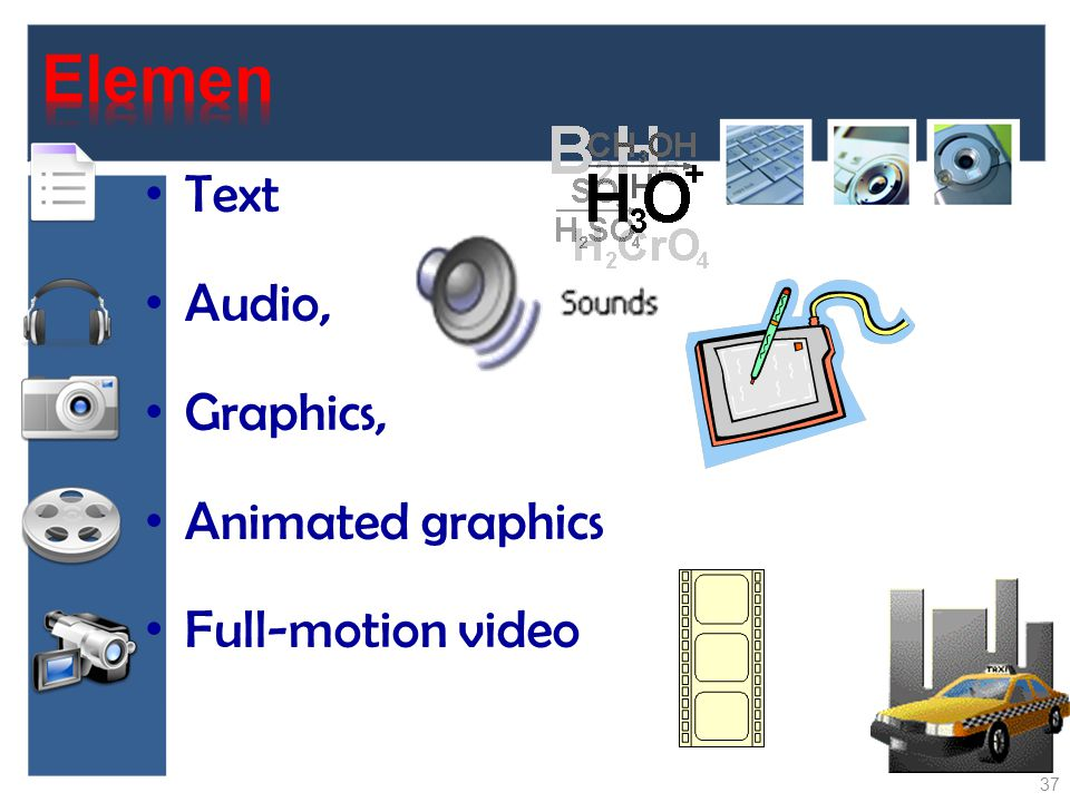 Elemen Text Audio, Graphics, Animated graphics Full-motion video