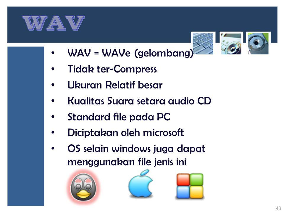 WAV WAV = WAVe (gelombang) Tidak ter-Compress Ukuran Relatif besar