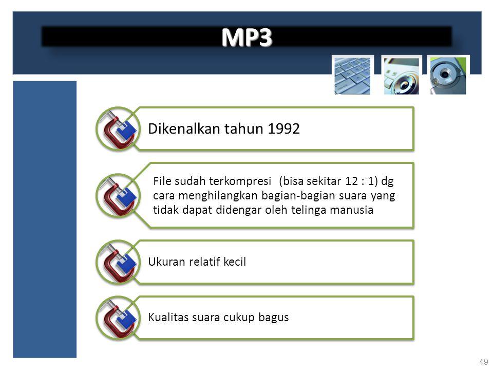 MP3 Dikenalkan tahun 1992.