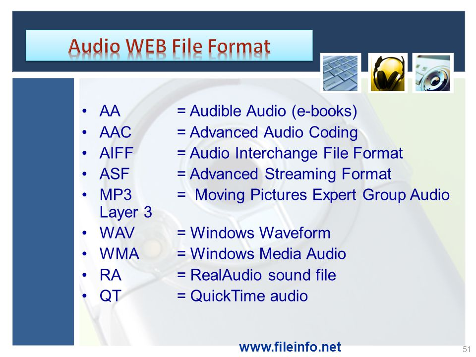 Audio WEB File Format AA = Audible Audio (e-books)
