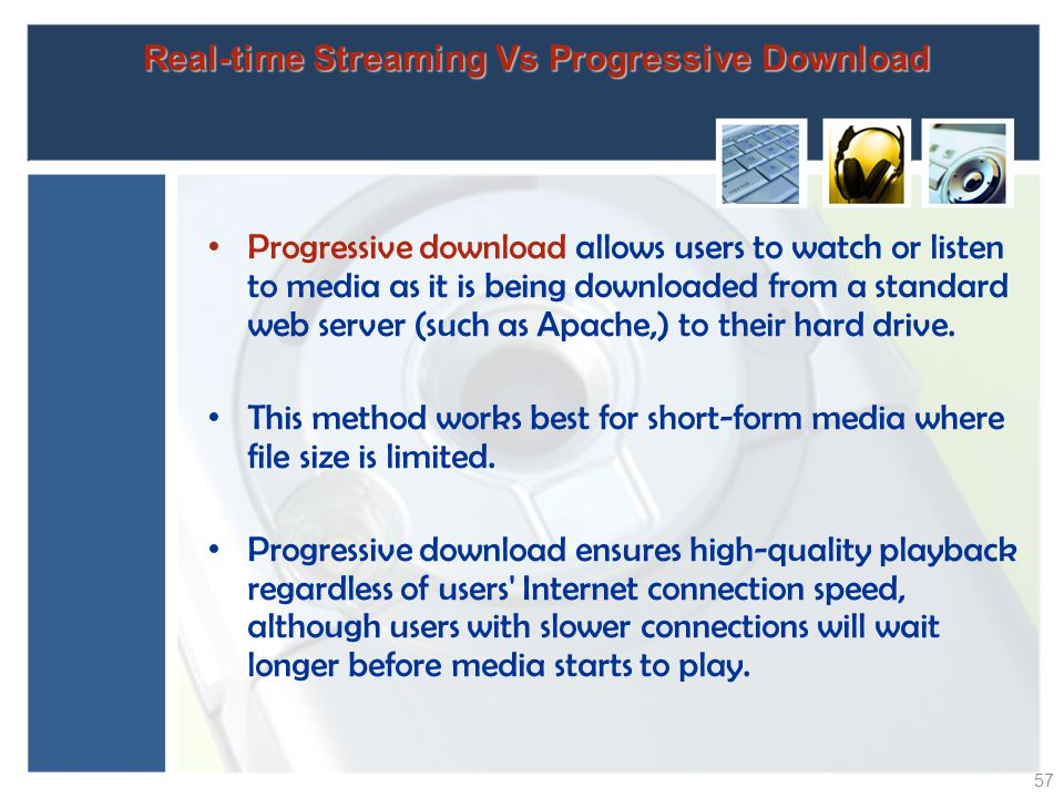 Real-time Streaming Vs Progressive Download