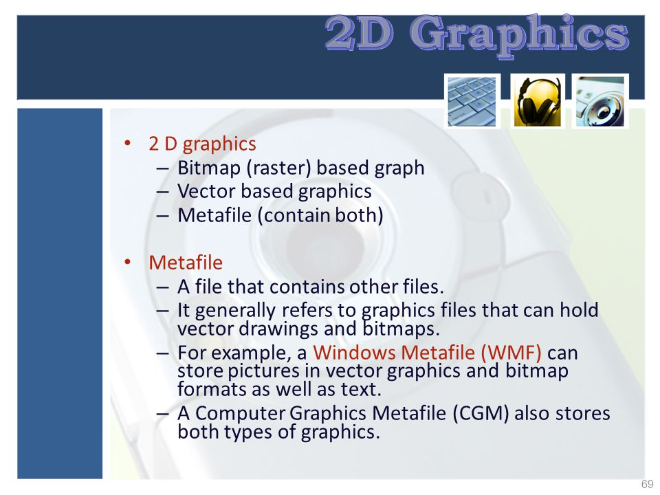 2D Graphics 2 D graphics Bitmap (raster) based graph