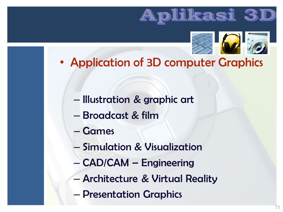 Aplikasi 3D Application of 3D computer Graphics