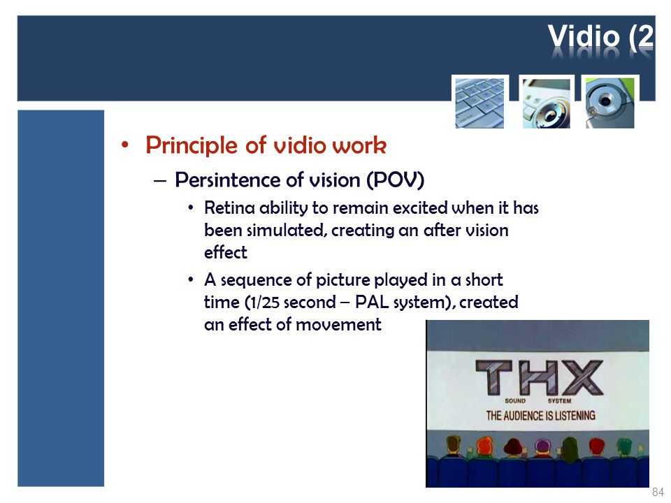 Vidio (2) Principle of vidio work Persintence of vision (POV)