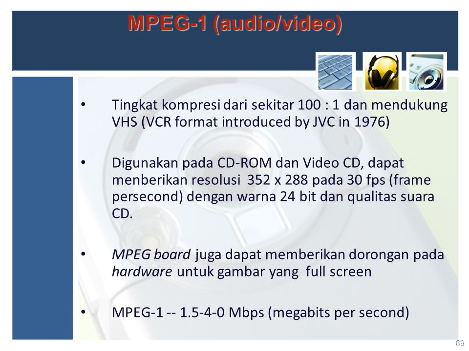 MPEG-1 (audio/video) Tingkat kompresi dari sekitar 100 : 1 dan mendukung VHS (VCR format introduced by JVC in 1976)