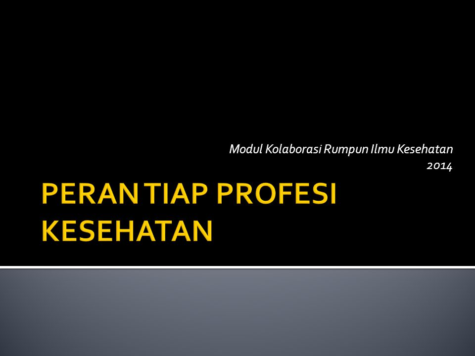 PERAN TIAP PROFESI KESEHATAN