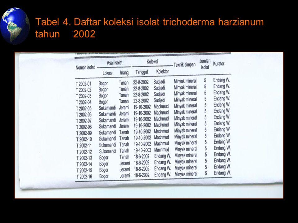 Tabel 4. Daftar koleksi isolat trichoderma harzianum tahun 2002