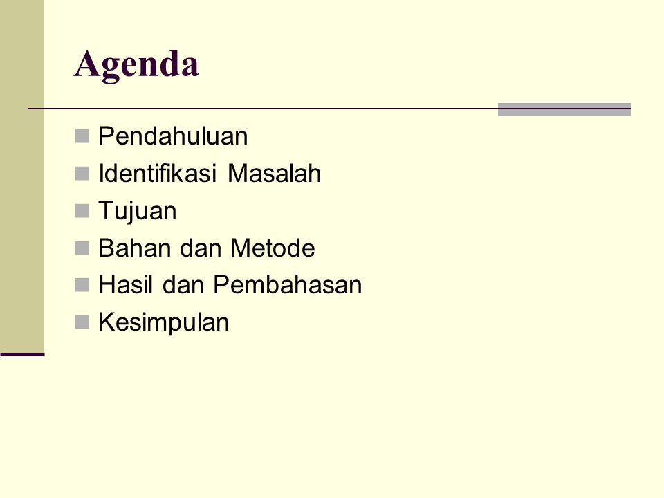 Agenda Pendahuluan Identifikasi Masalah Tujuan Bahan dan Metode
