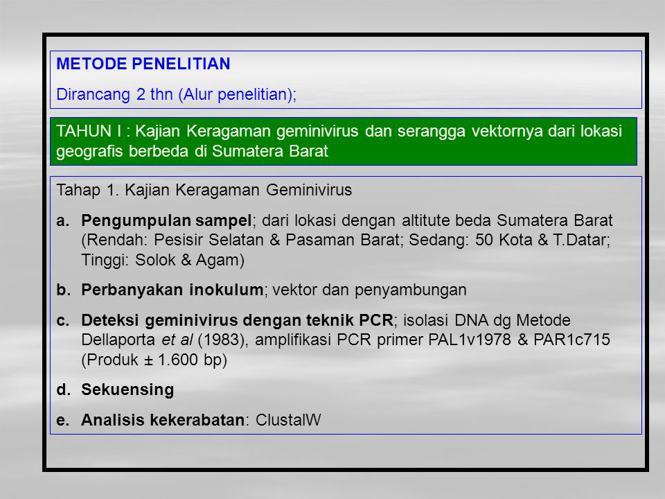 METODE PENELITIAN Dirancang 2 thn (Alur penelitian);