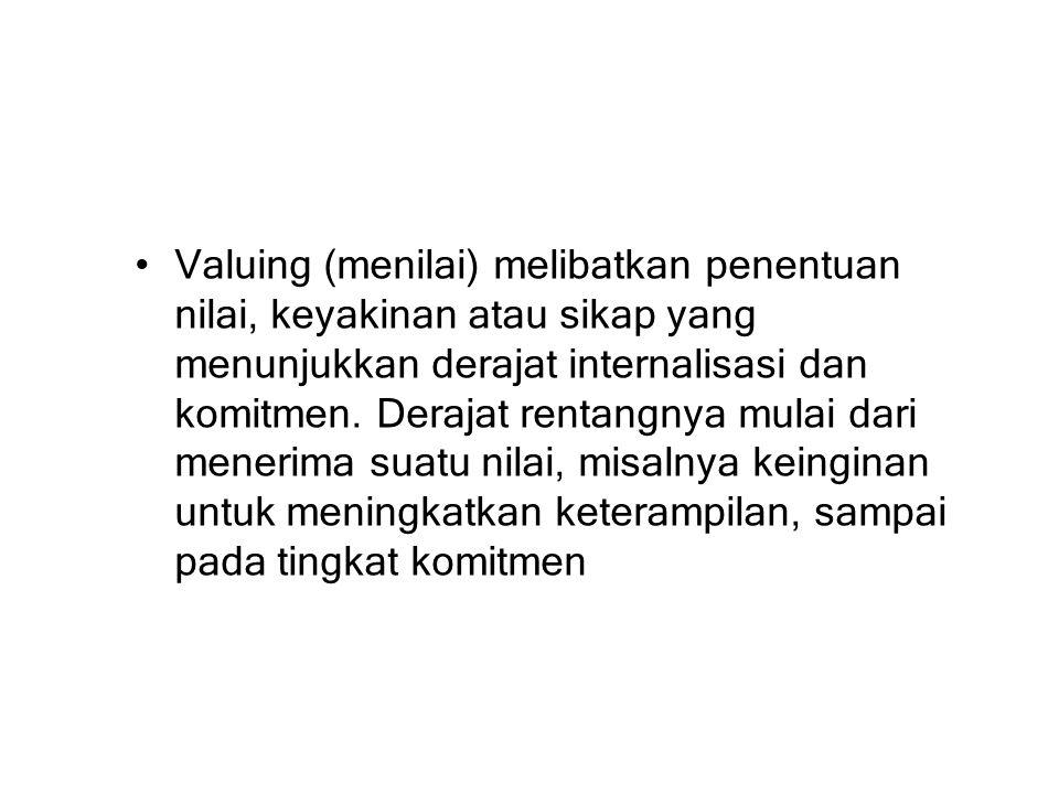Valuing (menilai) melibatkan penentuan nilai, keyakinan atau sikap yang menunjukkan derajat internalisasi dan komitmen.