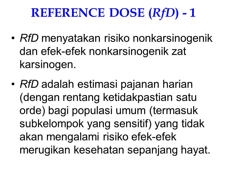 REFERENCE DOSE (RfD) - 1 RfD menyatakan risiko nonkarsinogenik dan efek-efek nonkarsinogenik zat karsinogen.