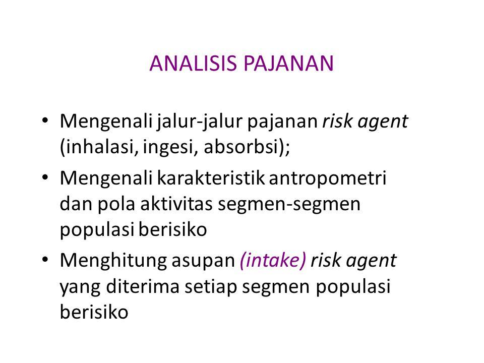 ANALISIS PAJANAN Mengenali jalur-jalur pajanan risk agent (inhalasi, ingesi, absorbsi);