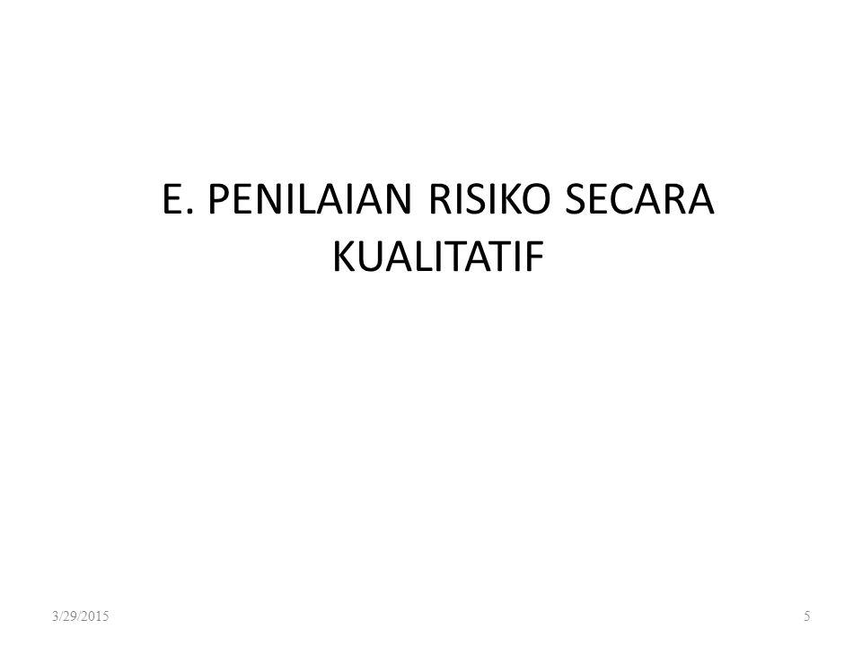 E. PENILAIAN RISIKO SECARA KUALITATIF