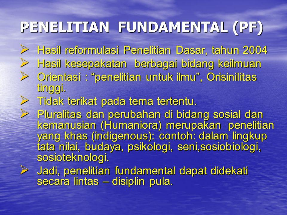 PENELITIAN FUNDAMENTAL (PF)