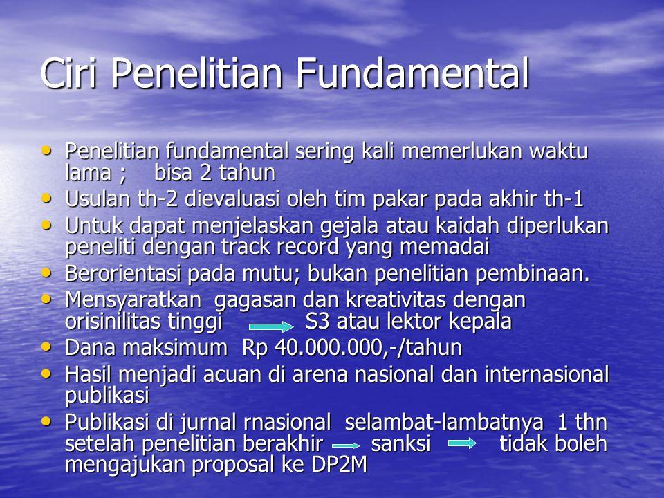 Ciri Penelitian Fundamental