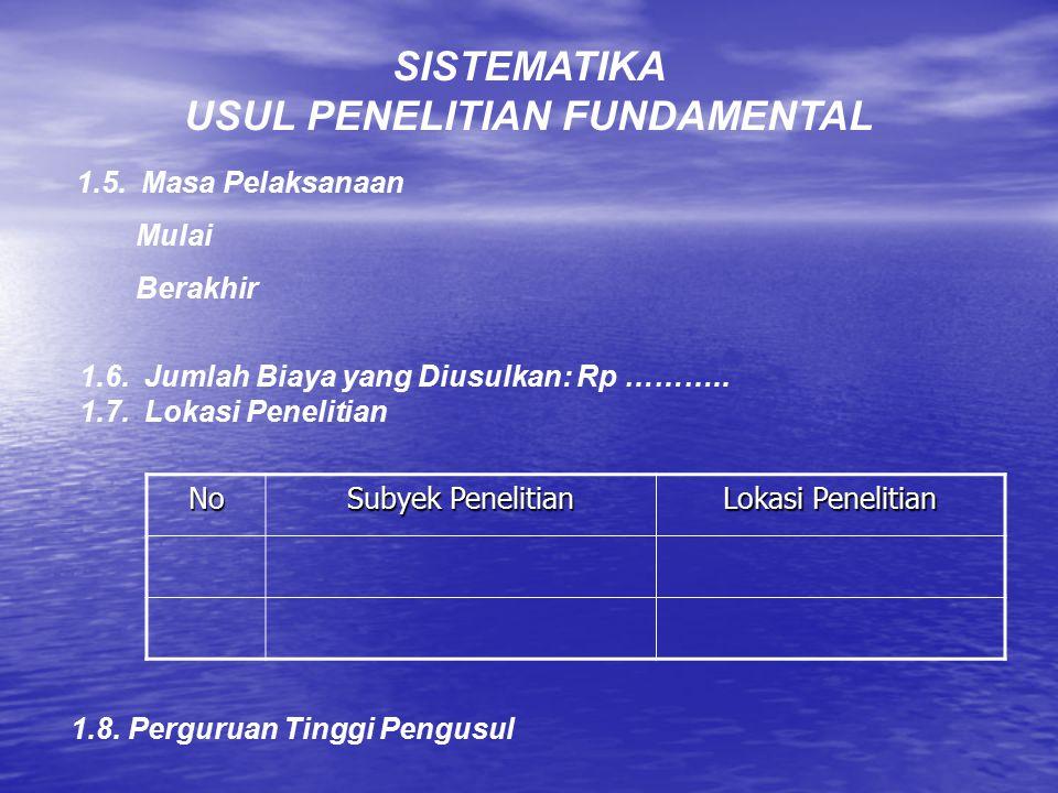 USUL PENELITIAN FUNDAMENTAL