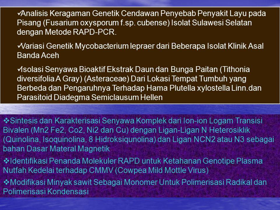 Analisis Keragaman Genetik Cendawan Penyebab Penyakit Layu pada Pisang (Fusarium oxysporum f.sp. cubense) Isolat Sulawesi Selatan dengan Metode RAPD-PCR.
