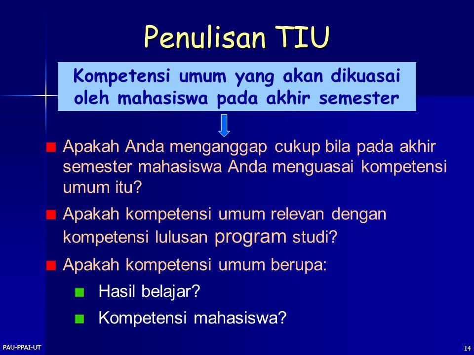 Kompetensi umum yang akan dikuasai oleh mahasiswa pada akhir semester