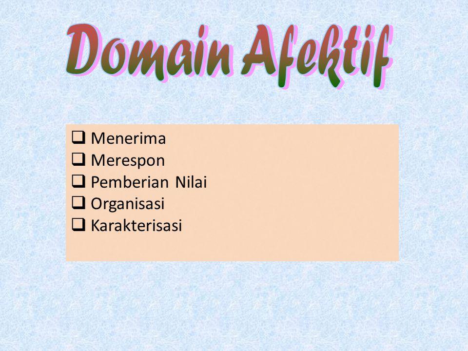 Domain Afektif Menerima Merespon Pemberian Nilai Organisasi