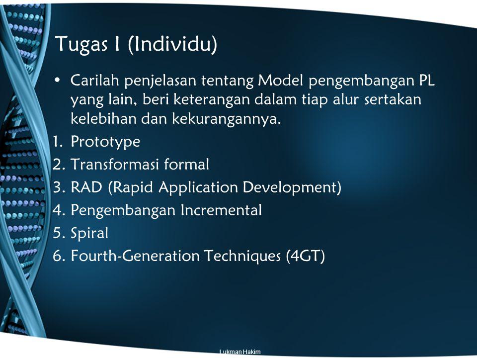 Tugas I (Individu) Carilah penjelasan tentang Model pengembangan PL yang lain, beri keterangan dalam tiap alur sertakan kelebihan dan kekurangannya.