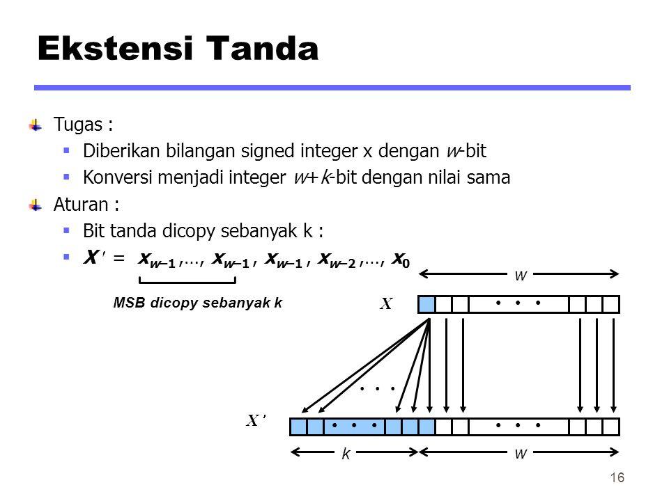 Ekstensi Tanda Tugas : Diberikan bilangan signed integer x dengan w-bit. Konversi menjadi integer w+k-bit dengan nilai sama.