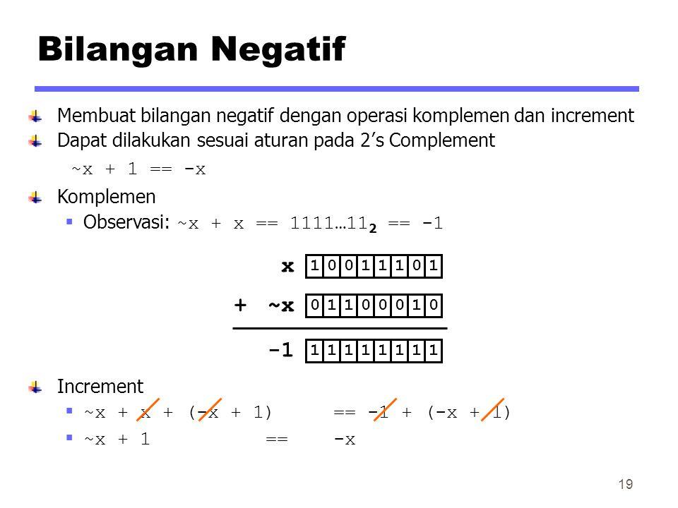 Bilangan Negatif x ~x + -1