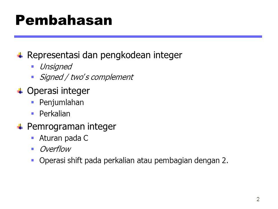 Pembahasan Representasi dan pengkodean integer Operasi integer