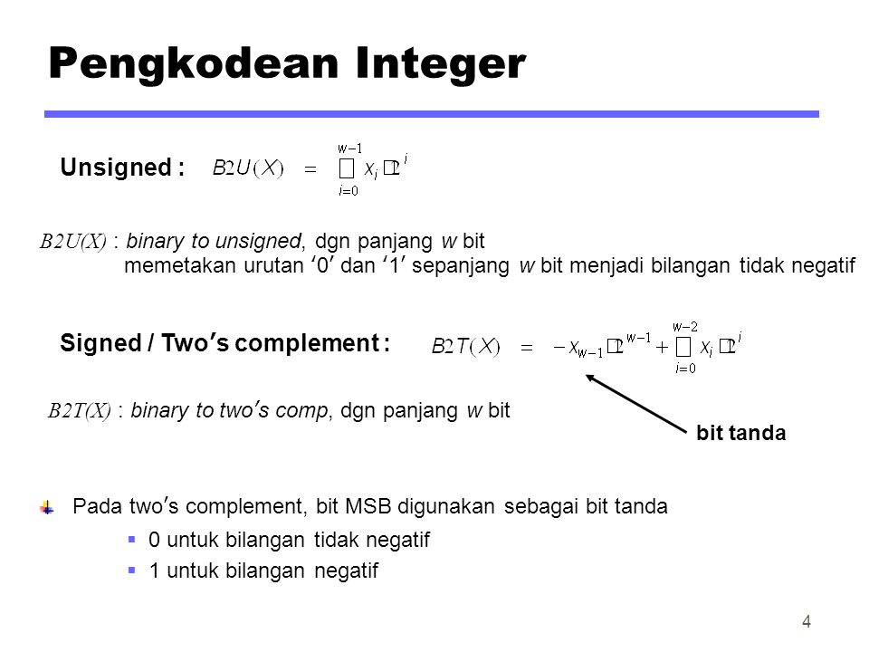 Pengkodean Integer Unsigned : Signed / Two's complement :