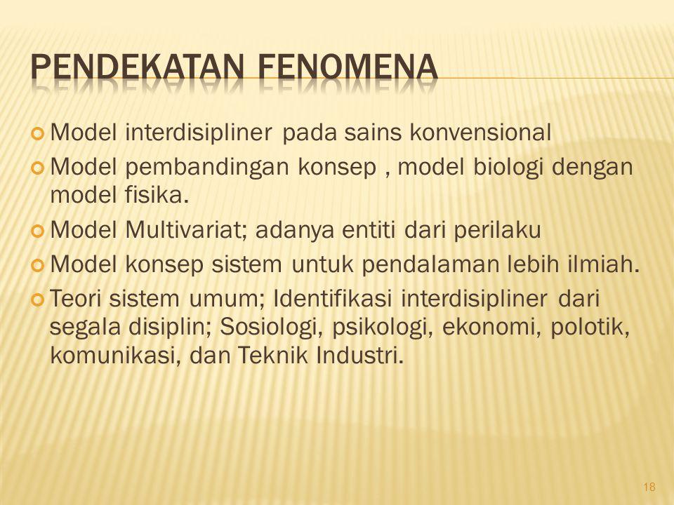Pendekatan Fenomena Model interdisipliner pada sains konvensional
