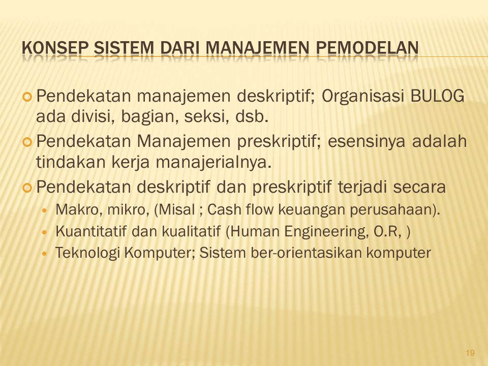 Konsep Sistem dari Manajemen Pemodelan