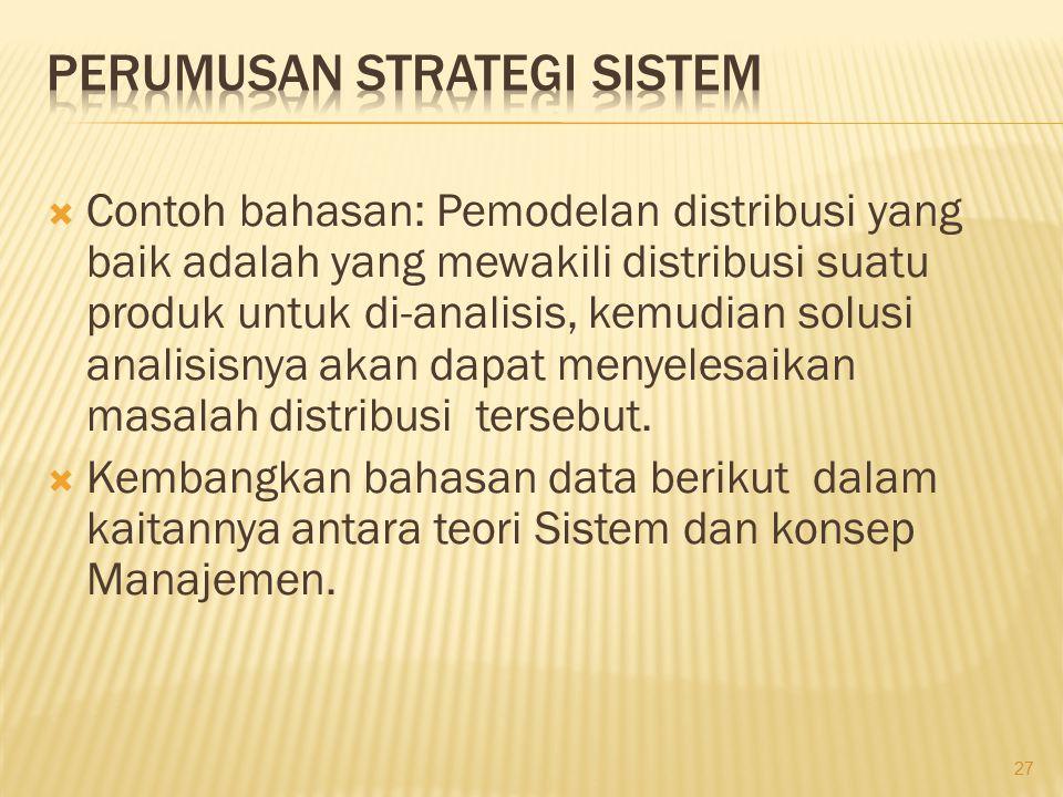 Perumusan Strategi Sistem