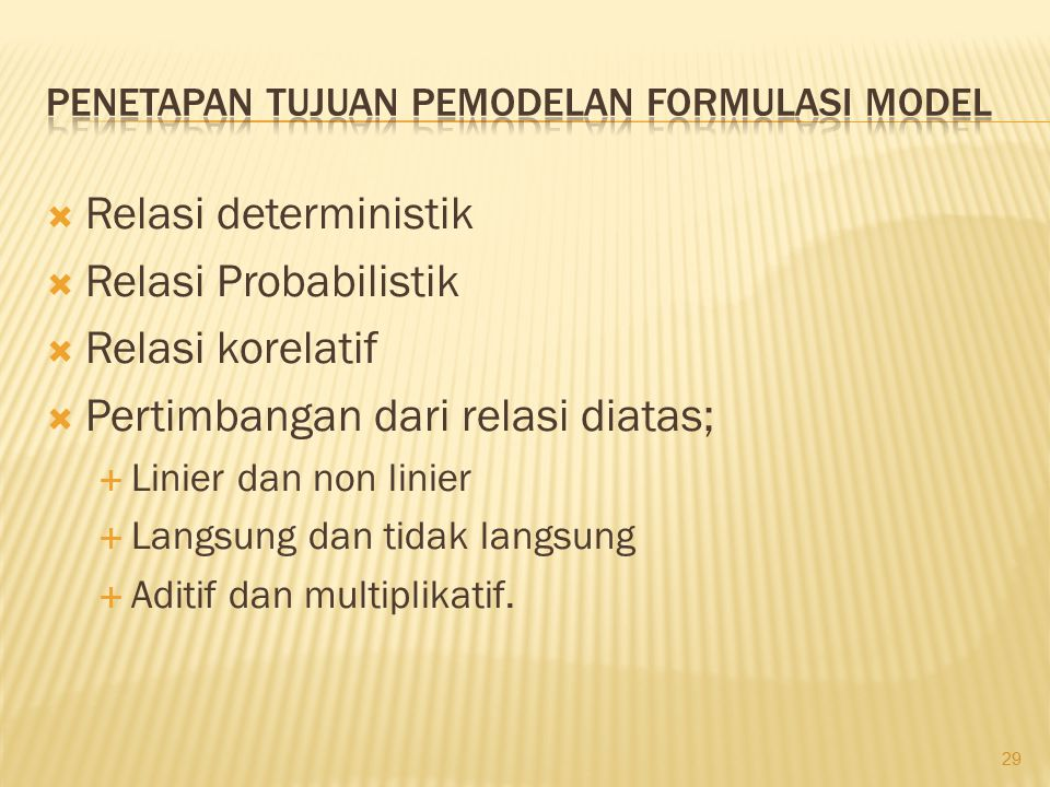 Penetapan tujuan pemodelan Formulasi Model