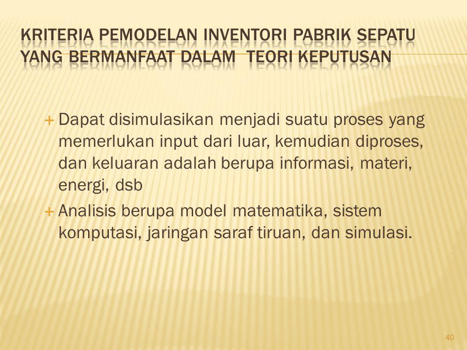 Kriteria pemodelan inventori pabrik sepatu yang bermanfaat dalam teori keputusan