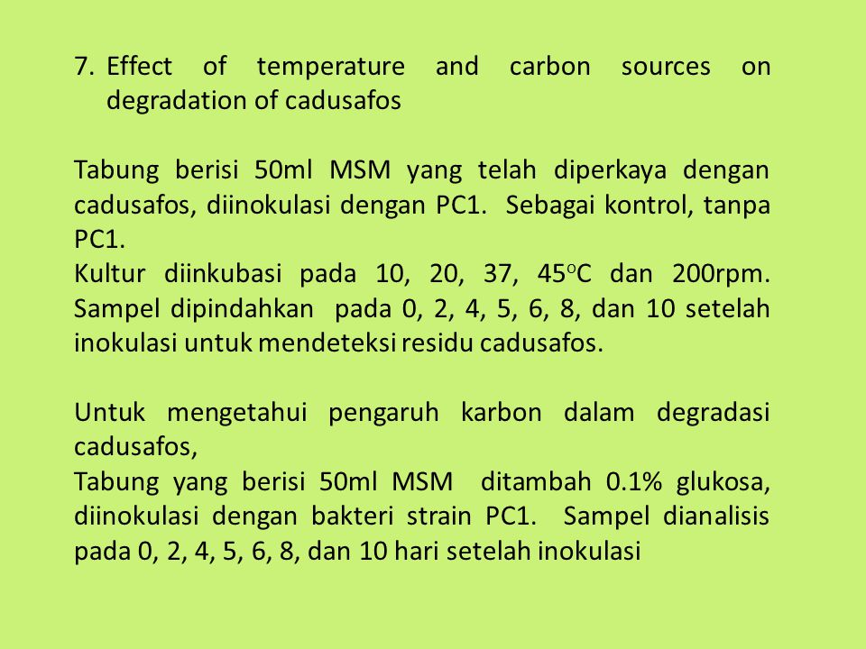 Effect of temperature and carbon sources on degradation of cadusafos