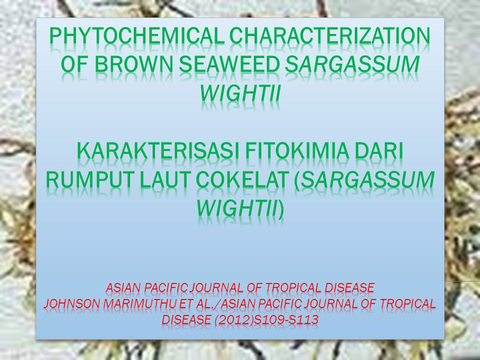 Phytochemical Characterization of Brown Seaweed Sargassum wightii Karakterisasi Fitokimia dari Rumput Laut Cokelat (Sargassum wightii) Asian Pacific Journal of Tropical Disease Johnson Marimuthu et al./Asian Pacific Journal of Tropical Disease (2012)S109-S113