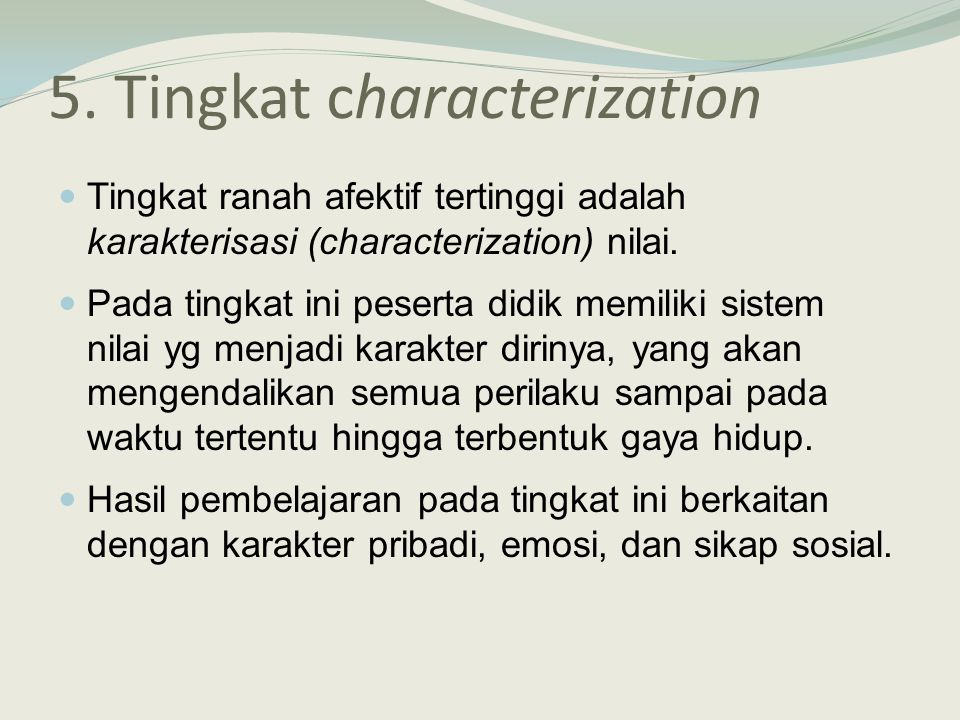 5. Tingkat characterization