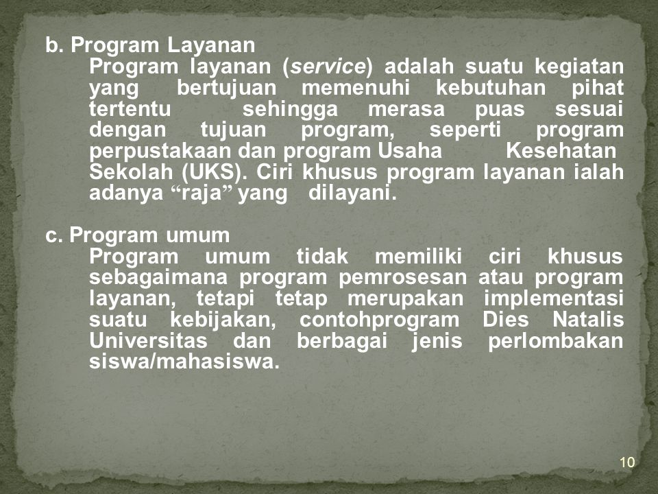 b. Program Layanan